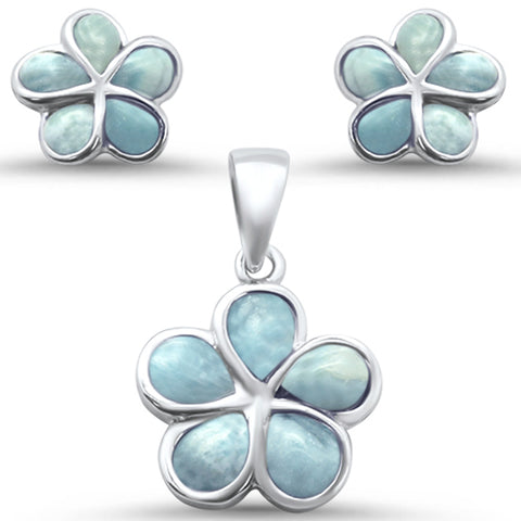 Plumeria Flower Natural Larimar .925 Sterling Silver Earring & Pendant Set