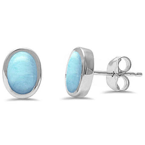 Oval Shape Larimar .925 Sterling Silver Earrings