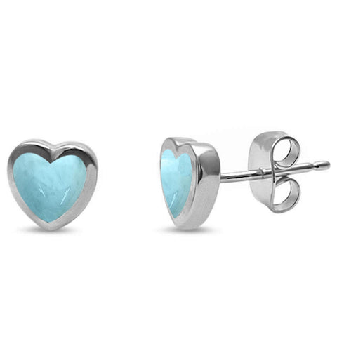 Natural Larimar Heart Shape Stud .925 Sterling Silver Earrings