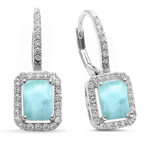 Natural Larimar & Cz Radiant Shape Lever Back .925 Sterling Silver Earrings