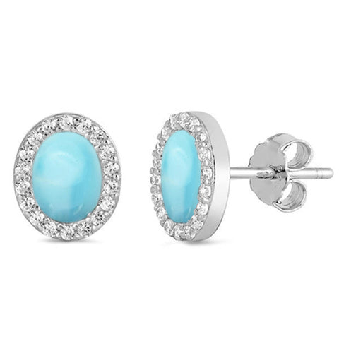 Natural Larimar r& Cz Oval Stud .925 Sterling Silver Earrings