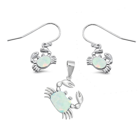 White Opal Crab .925 Sterling Silver Earring & Pendant Set