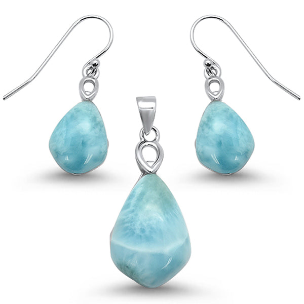 Natural Cut Larimar .925 Sterling Silver Earring & Pendant Set