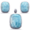 Cushion Cut Natural Larimar .925 Sterling Silver Earring & Pendant Set