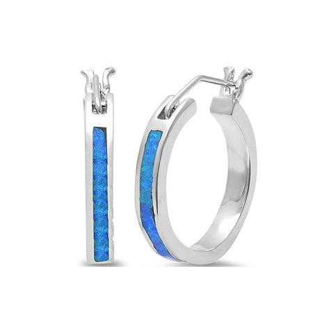 Small Blue Opal Hoop .925 Sterling Silver Earrings