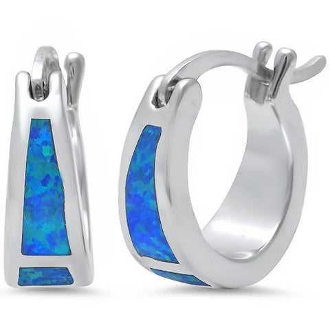 Blue Fire Opal Hoop .925 Sterling Silver Earrings