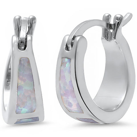 White Fire Opal Hoop .925 Sterling Silver Earrings