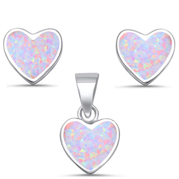 Pink Opal Heart Shape Earring & Pendant .925 Sterling Silver Set