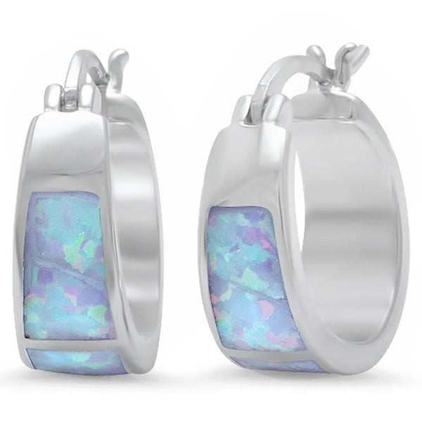 White Fire Opal Hoop Huggie Style .925 Sterling Silver Earrings