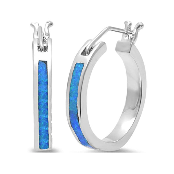 Blue Opal Hoop .925 Sterling Silver Earrings