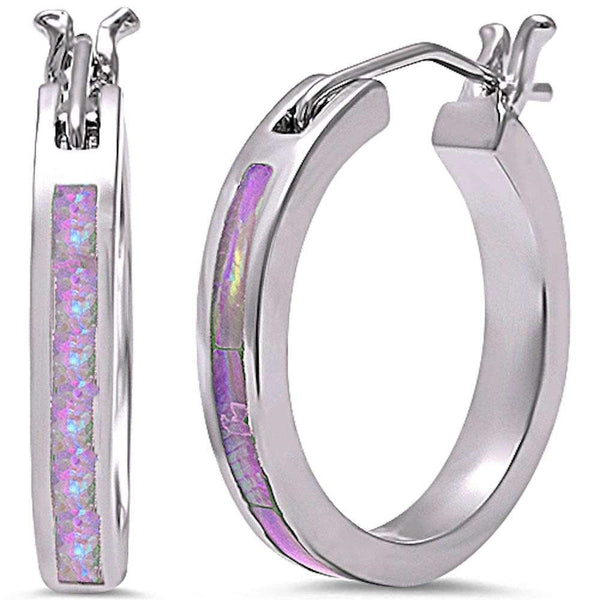 Pink Fire Opal Round Hoop .925 Sterling Silver Earrings