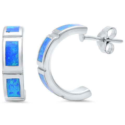 Solid Blue Opal Huggie Hoop .925 Sterling Silver Earrings