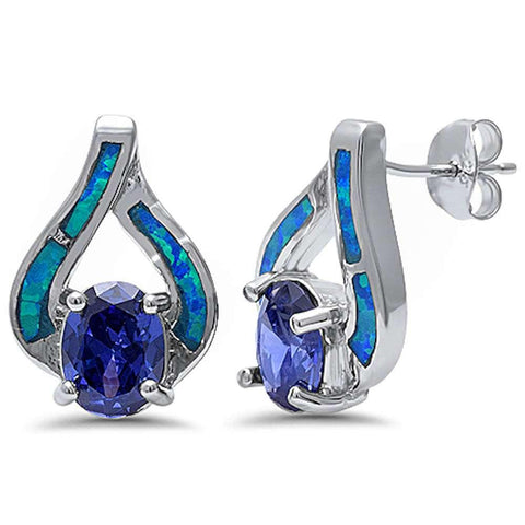 New Fashion Blue Opal & Tanzanite .925 Sterling Silver Earring