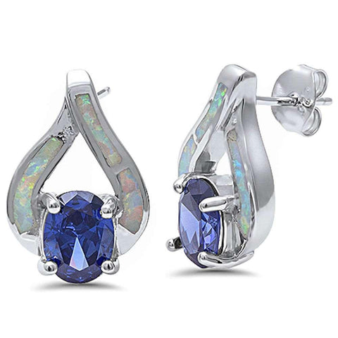 New Fashion White Opal & Tanzanite .925 Sterling Silver Earring