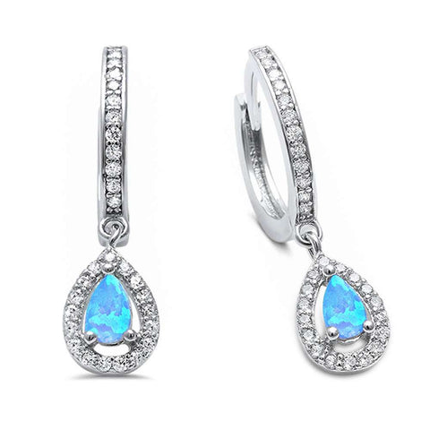 Blue Opal & Cz Hoop Dangle  .925 Sterling Silver Earrings