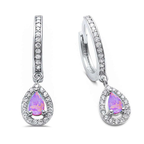 Pink Opal & Cz Hoop Dangle .925 Sterling Silver Earrings