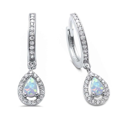 White Opal & Cz Hoop Dangle  .925 Sterling Silver Earrings