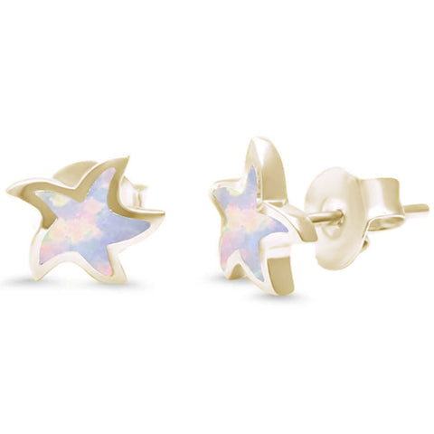 White Opal Star Yellow Gold .925 Sterling Silver Earrings