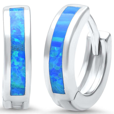 Blue Opal .925 Sterling Silver Hoop Huggie Earrings