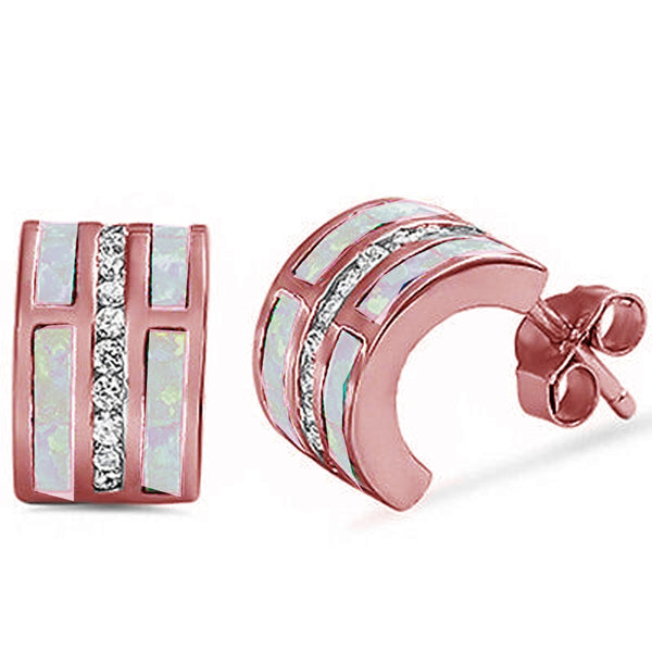 Rose Gold Plated Pink Opal & Cz C-Shape Huggie Hoop .925 Sterling Silver Earrings