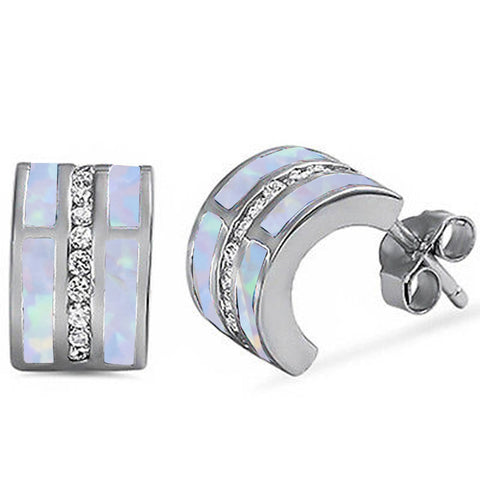White Opal & Cz C-Shape Huggie Hoop .925 Sterling Silver Earrings