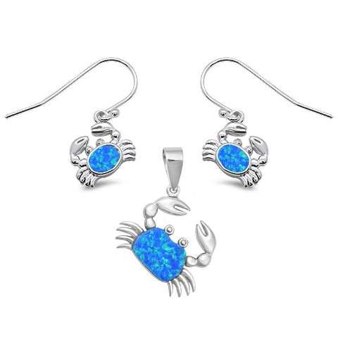 Blue Opal Crab .925 Sterling Silver Earring & Pendant Set