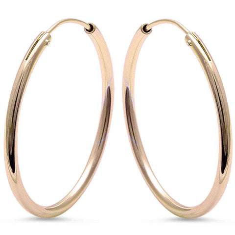 Plain Yellow Gold Plated Round Hoop .925 Sterling Silver Earrings