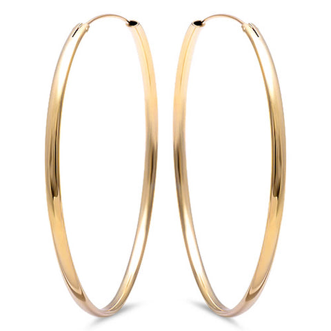Plain Yellow Gold Plated Hoop .925 Sterling Silver Earrings