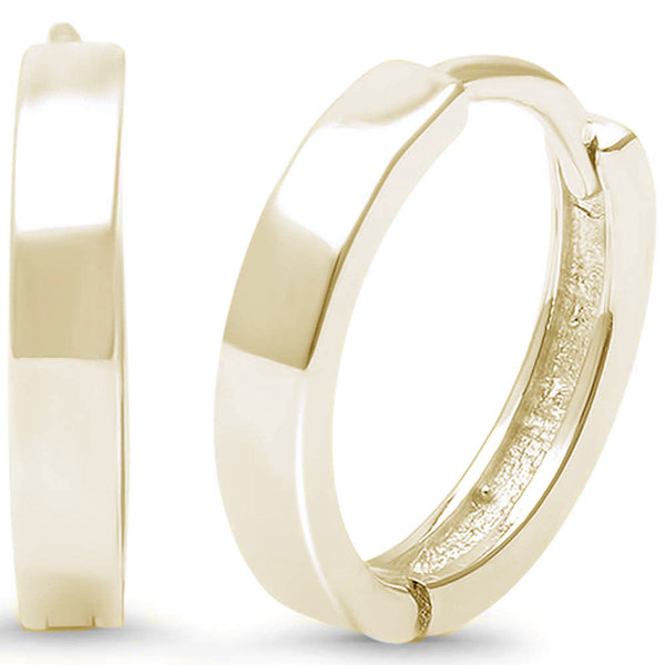 Yellow Gold Plated Plain Hammer Finish Hoop .925 Sterling Silver Earrings