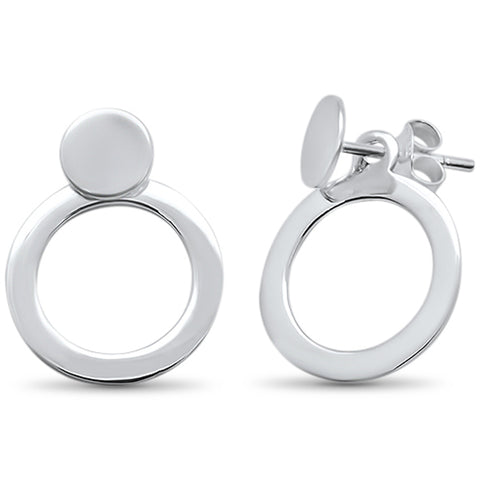 Plain Detachable Round  .925 Sterling Silver Earrings