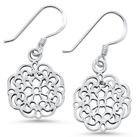 Plain Filigree Design Dangling .925 Sterling Silver Earrings