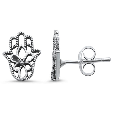 Plain Hamsa Stud .925 Sterling Silver Earrings