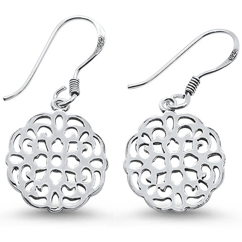 Plain Flower Design Dangle  .925 Sterling Silver Earrings