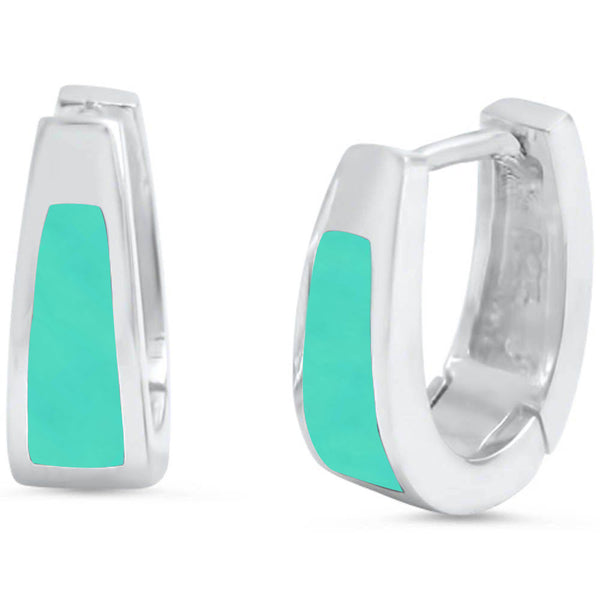 Turquoise Huggie Hoop .925 Sterling Silver Earrings