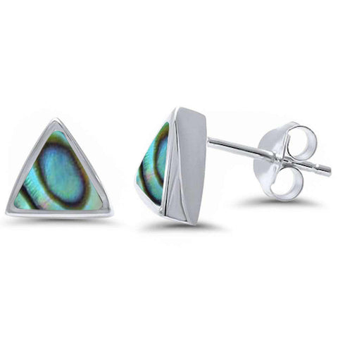 Trillion Shape Abalone .925 Sterling Silver Earrings