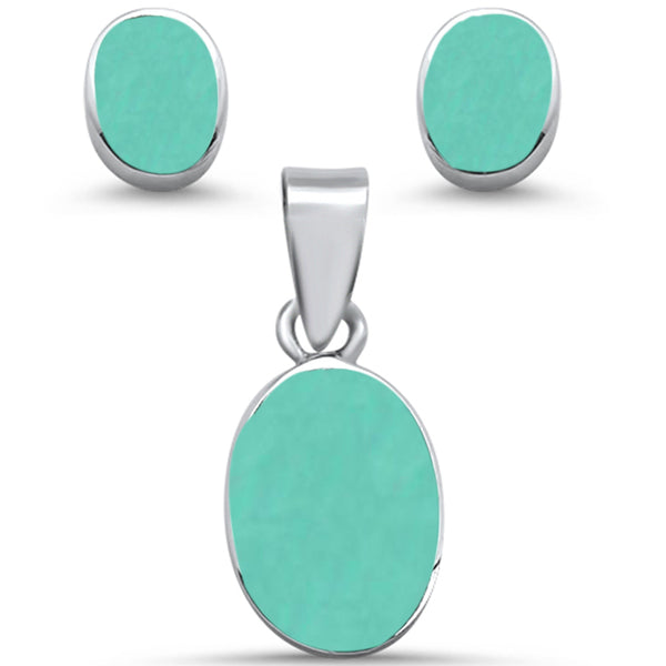Oval Shape Turquoise Earring & Pendant .925 Sterling Silver Set