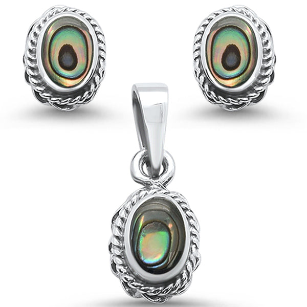 Oval Shape Abalone Antique Design Earring & Pendant .925 Sterling Silver Set