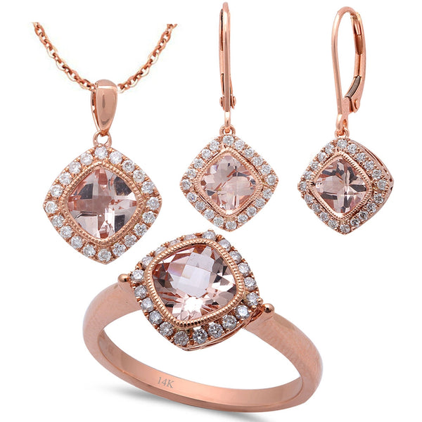 3.51ct F VS Morganite & Diamond 14kt Rose Gold Ring, Pendant & Earring Set