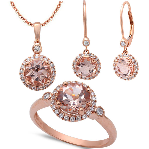 4.49ct F VS Morganite & Diamond 14kt Rose Gold Ring, Pendant & Earring Set
