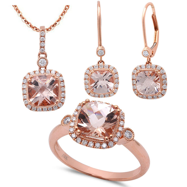 5.17ct F VS Morganite & Diamond 14kt Rose Gold Ring, Pendant & Earring Set