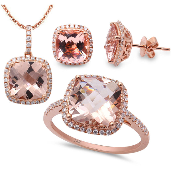9.24ct F VS Morganite & Diamond 14kt Rose Gold Ring, Pendant & Earring Set