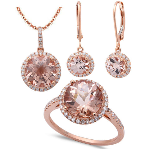 6.38ct F VS Morganite & Diamond 14kt Rose Gold Ring, Pendant & Earring Set