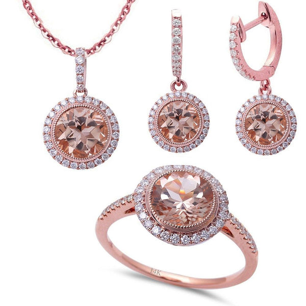 4.44ct F VS Morganite & Diamond 14kt Rose Gold Ring, Pendant & Earring Set