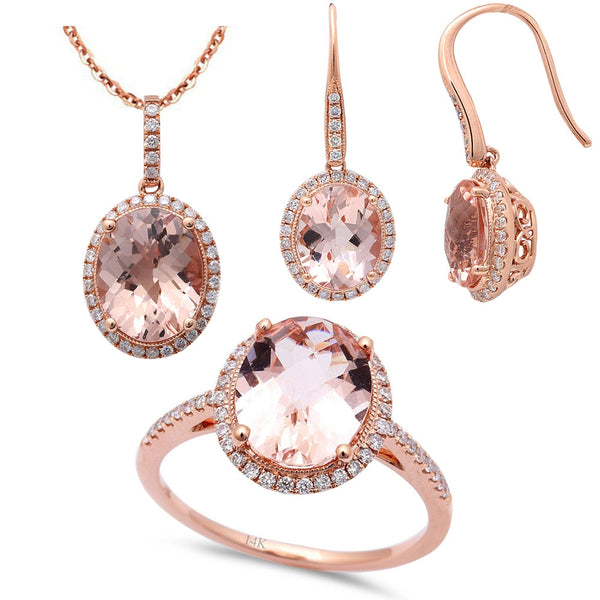 7.73ct F VS Morganite & Diamond 14kt Rose Gold Ring, Pendant & Earring Set