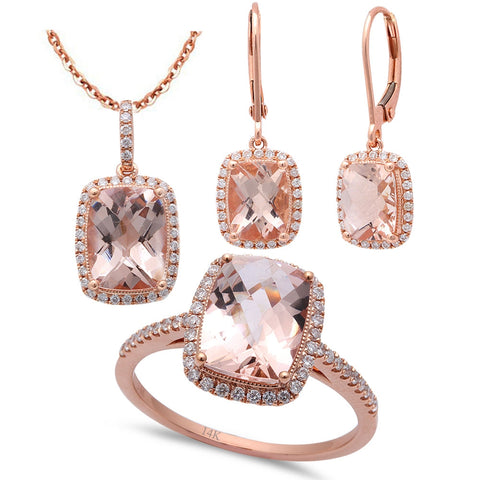 6.84ct F VS Morganite & Diamond 14kt Rose Gold Ring, Pendant & Earring Set