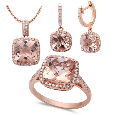 8.56ct F VS Morganite & Diamond 14kt Rose Gold Ring, Pendant & Earring Set