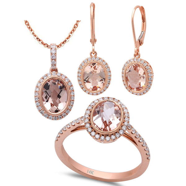 5.14ct F VS Morganite & Diamond 14kt Rose Gold Ring, Pendant & Earring Set