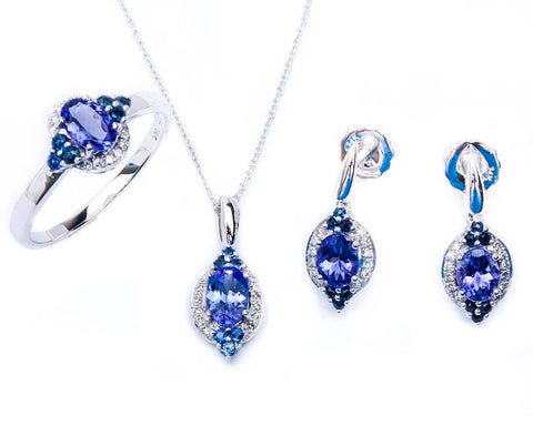 14kt Sapphire, Diamond & Tanzanite 3 piece Ring, Earring & Pendant Necklace Set