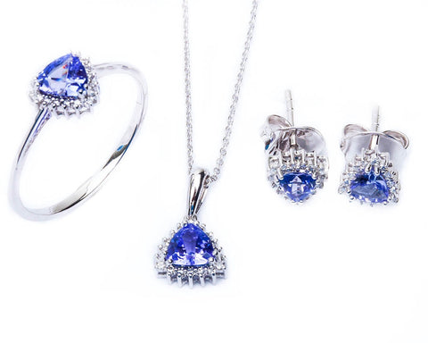 14kt White Gold Diamond & Tanzanite Earring, Ring & Pendant Necklace Set