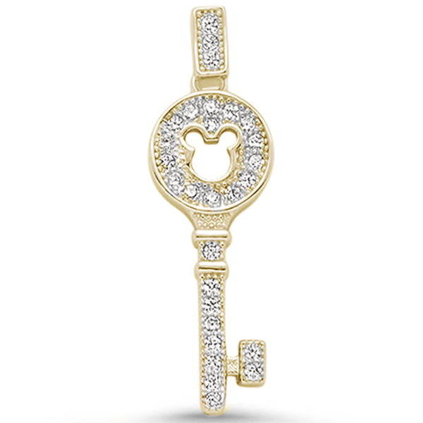 Yellow Gold Plated Micro Pave Cz Key Charm .925 Sterling Silver Pendant
